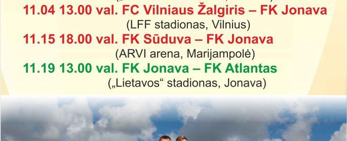 Kviečiame sirgalius aktyviau palaikyti Jonavos futbolininkus